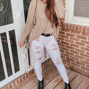 White Distressed Kancan Jeans